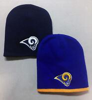 Los Angeles Rams Short Beanie Skull Cap Hat Embroidered LA