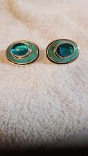 Men's cufflinks Turquoise and Blue topaz sterling silver handmade