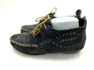 Minnetonka Moccasins Lace Up Booties Women's 8 Suede Leather Shoes. Blue