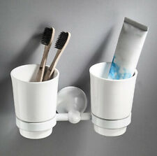Bathroom Brass Toothbrush Holder Ceramic Cup Wall Mounted Storage Shelf White