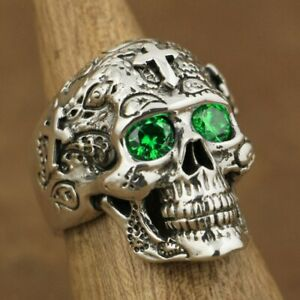925 Sterling Silver High Detail Skull Cross Green CZ Eyes Ring TA57A US Size 11