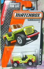 2014 Matchbox On A  Mission #94-120 Lime Green '43 Jeep Willys Heroic Rescue 4+