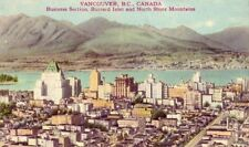 VANCOUVER B.C. CANADA BUSINESS SECTION BURRARD INLET NORTH SHORE MTS. 1946