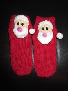 SANTA Socks - Red - Non-Slip - NEW
