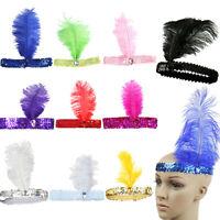 Vintage Ostrich Feather Flapper Headpiece Headband 1920s Great Gatsby Hairband