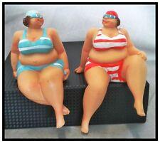 FAT LADIES IN BIKINI SEASIDE  SHELF SITTERS (set of 2 blue/red)