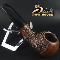Mr.BALANDIS HAND MADE - CARVED & SMOOTH BRIAR wood smoking pipe *BISON CALPRO*
