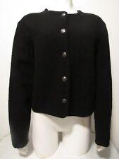 Talbots PETITES 8 Black 100% Boiled Wool Cardigan Sweater Blazer Jacket LS 8P