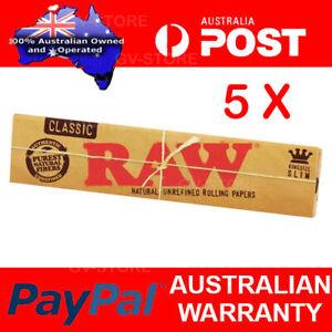 5x RAW Kingsize Slim Classic Natural Unrefined Papers Smoking Tobacco Paper