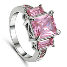 Size 7 Classic Pink CZ Sapphire Wedding Rings Women's 10Kt white Gold Filled