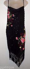 Dolce Jovani 6 Dress 100% Silk Black Beaded Embroidered Floral Fringe Tassels