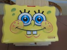 SPONGEBOB SQUARE PANTS COLLECTABLE PLASTIC LUNCH BOX 2013 QATAR AIRLINES RARE