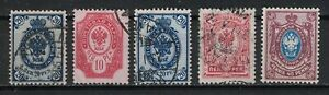 FINLAND:1901 SC#67,72-73,79-USED 81-MNH Arms