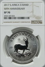2017 South Africa 50th Anniversary 1 oz Silver Krugerrand - NGC SP70