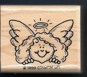 ANGEL FACE HALO Stampin' Up! 1999 Happy Holiday Helpers Gift Tag Rubber Stamp