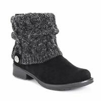 Muk Luks Womens 0016895001-10 Closed Toe Ankle Fashion Boots, Black, Size 9.0