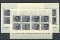 3 x Bund Block 3 sauber postfrisch Widerstandskämpfer WW II 1964 BRD 431 - 438