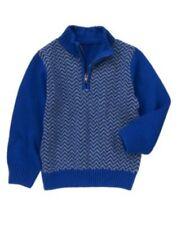 GYMBOREE JOYFUL HOLIDAY BLUE HERRINGBONE 1/2 ZIP L/S SWEATER 3 4 5 6 7 8 10 NWT