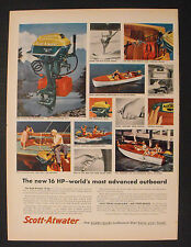 1956 Scott-Atwater Outboard Boat Gas Motor Water All Speeds Electric Starting AD