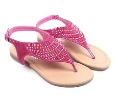 Fuchsia Color Rhinestones Casual Slingback Youth Girls Kids Sandals Size 1