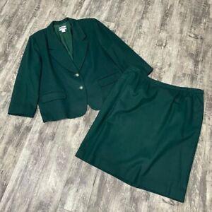 Pendleton VTG Wool Green 2 Piece Skirt Suit Jacket Women's Plus Size 20 W