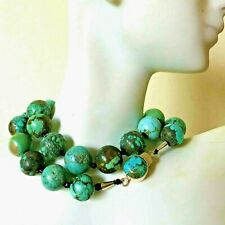 """Finest Antique Chinese Carved Natural Turquoise Beads Necklace Custom Clasp 18"""""""