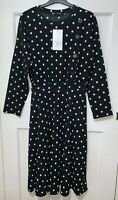 ZARA BLACK/WHITE POLKA DOT LONG SLEEVES DRESS WITH BUTTONS SIZE M UK 10 -12 BNWT