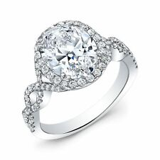 2.20ctw Natural Oval Cut Halo Twisted Pave Diamond Engagement ring - GIA