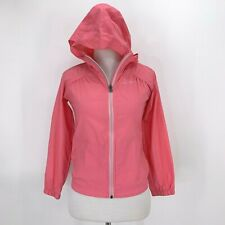 Columbia Windbreaker Hoodie Jacket Girls Youth Size S Lightweight Foldable Pink