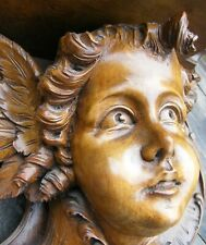 More details for large french baroque carved wooden cherub putti country house bracket shelf