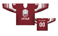 Team Latvia Latvija 2019 Red Ice Hockey Jersey Custom Name and Number