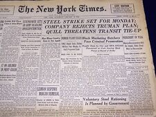 1946 JANUARY 19 NEW YORK TIMES - STEEL STRIKE SET FOR MONDAY - NT 866