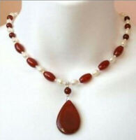 """Beautiful 7-8mm White Pearl Red Ruby Rice-shaped & 18x25mm Pendant Necklace 18"""""""
