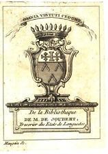EX-LIBRIS de Laurent-Nicolas de JOUBERT. Languedoc.
