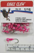 New Eagle Claw 1/16 Oz. Hot Pink Jig Heads 25 Qty