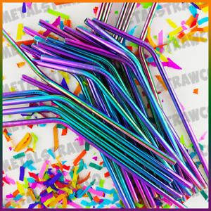 RAINBOW Metal Drinking Straws Stainless Metal Drinks Straw Cleaner Reusable Bar