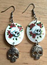 Sugar Skull, Skulls & Roses, Statement Earrings Dangle Rockabilly Goth Steampunk