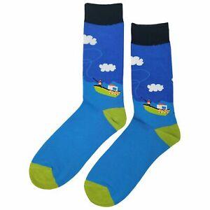 NWT Deep Sea Fishing Dress Socks Novelty Men 8-12 Blue Fun Sockfly