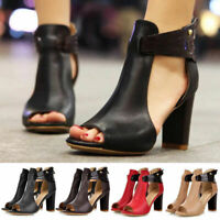 Womens Peep Toe Ankle Strap Chunky Block Mid High Heel Sandals Party Club Shoes