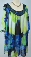 Avenue fly away chiffon top blouse shirt tunic beaded V neck batwing 26 28 NEW