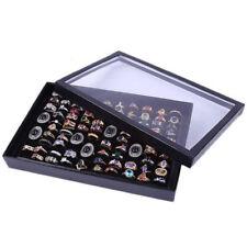 2018 Black Velvet Display Box Storage Jewelry Box Glass Rings Necklaces Holder