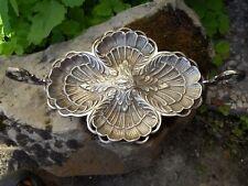 Ancien serviteur décor coquilles St Jacques poisson métal argente