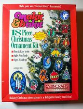 Vintage Quincrafts Makit & Bakit 18 Pc Stained Glass Christmas Ornament Kit NIB