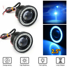 "2.5"" Car SUV COB LED Fog Light Projector Ice Blue Angel Eyes Halo Ring DRL Lamp"