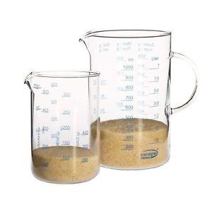 Trendglas Jena Messbecher Set 2 teilig 1 Liter und 0,5 Liter hitzebeständig