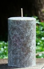 40hr AMBER BERGAMOT Scented Brown Pillar CANDLE with Cotton Wicks & Coconut Wax