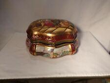 "RARE ROYAL VIENNA HP GROUP PORTRAIT HVY GOLD EMBOSSED 11 1/4"" DRESSER BOX"
