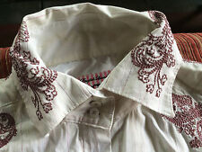 English Laundry embroider white red blouse shirt top sz XL Country Casual Cotton