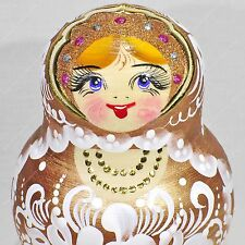 "7"" GORGEOUS GOLD PINK AUTHOR'S RUSSIAN MATRYOSHKA 15 PIECES NESTING DOLLS 15PCS"
