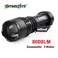 SkyWolfeye 8000 LM CREE Q5 LED Flashlight Zoomble Mini Torch Light Lamp 14500,f